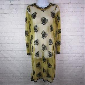 Zara Sheer Mesh Leaf Floral Dress